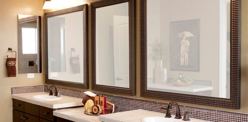 modern-brown-lacquered-bathroom-vanity-cabinets-with-white-vanity-top-set-under-triple-square-wall-mirrors-plus-decorative-lighting